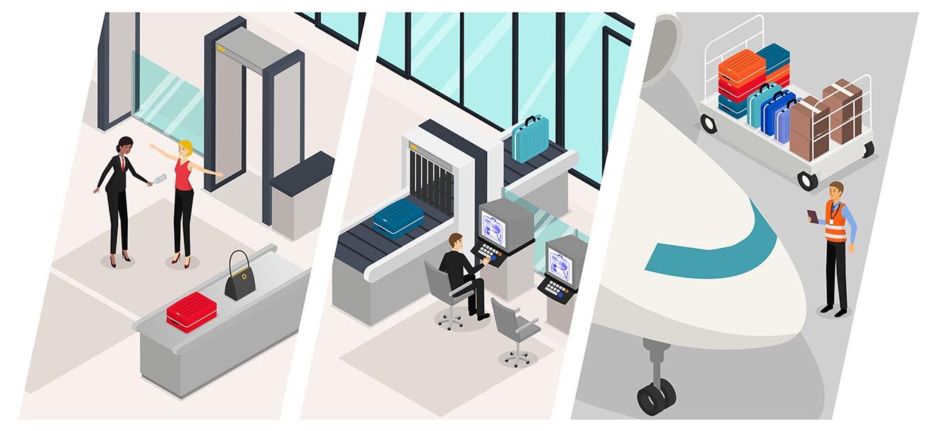 Image d'illustration Securus présentant les 3 univers: contrôle des passagers et des bagages